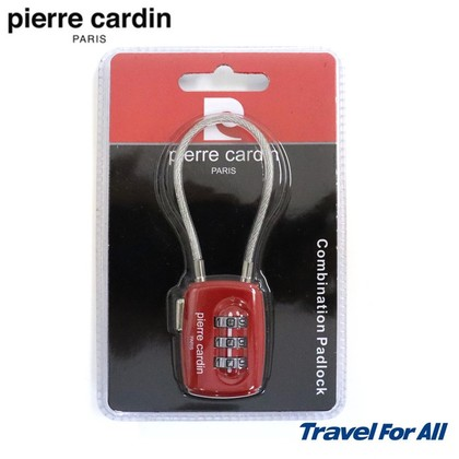 Pierre Cardin 3 Dial Digit Combination Suitcase Luggage Wire Padlock