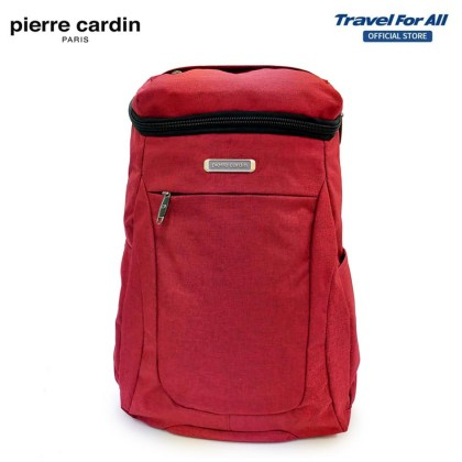 Pierre Cardin 14 Inch Backpack (Maroon / Light Grey)